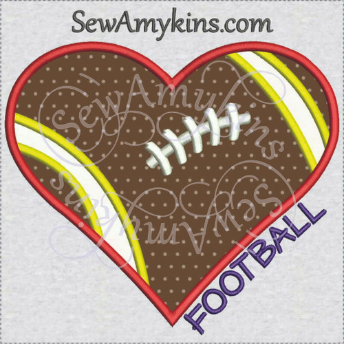 football heart love applique machine embroidery design
