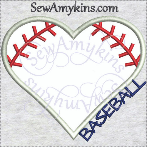 baseball heart applique love machine embroidery design base ball