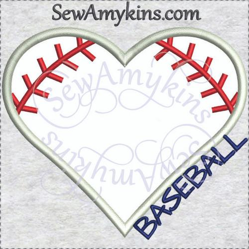 baseball heart applique love machine embroidery design base ball