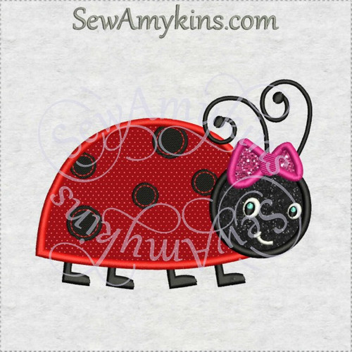 ladybug with bow girl lady bug applique machine embroidery design