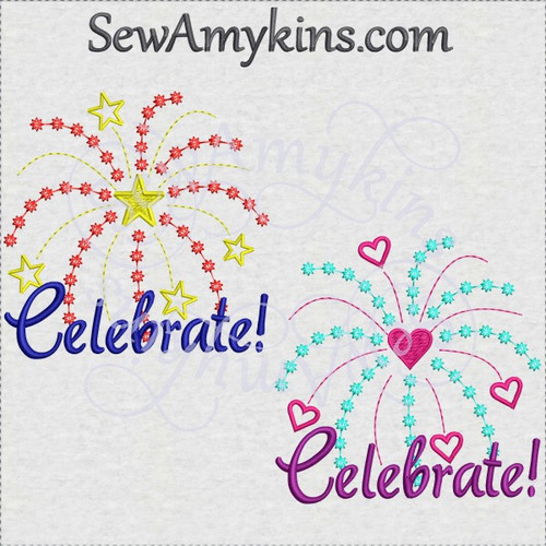 fireworks celebrate 4th July heart star machine embroidery design
