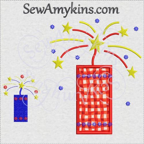Firecracker applique fill stitch 4th July fireworks machine embroidery