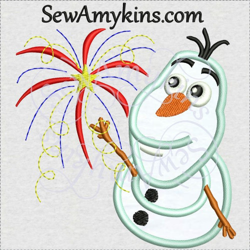 Olaf fireworks 4th July snowman applique machine embroidery design