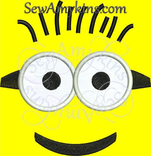 minion face despicable me eyes hair machine embroidery design applique