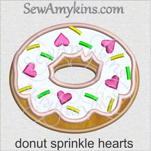 donut sprinkle hearts applique machine embroidery doughnut