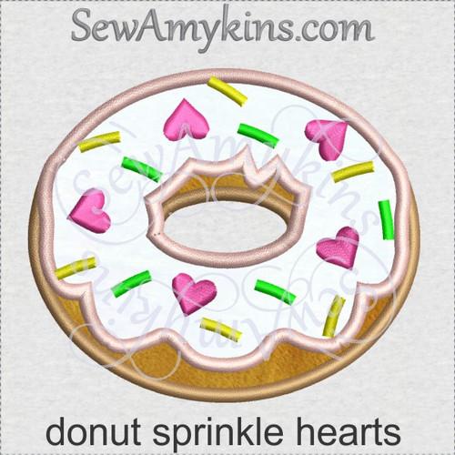 donut sprinkle hearts applique machine embroidery doughnut