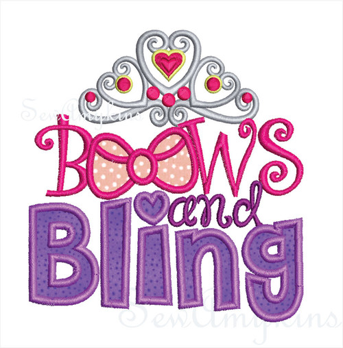 Bows and Bling Crown applique