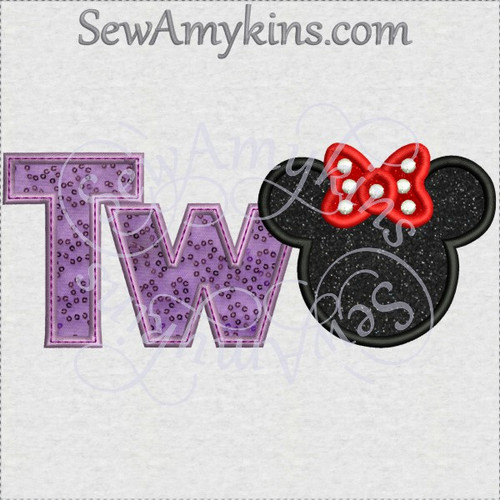 Minnie mouse two 2 head T W applique machine embroidery birthday first
