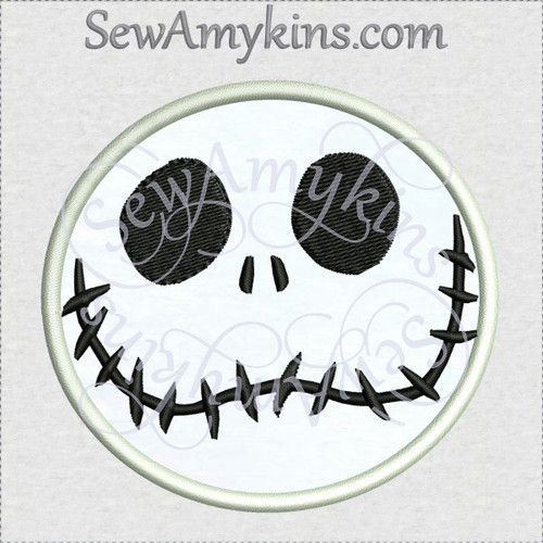 Jack Skellington nightmare happy face applique machine embroidery design