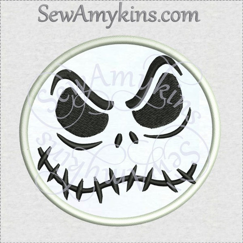 Jack Skellington nightmare creepy face applique machine embroidery design skeleton