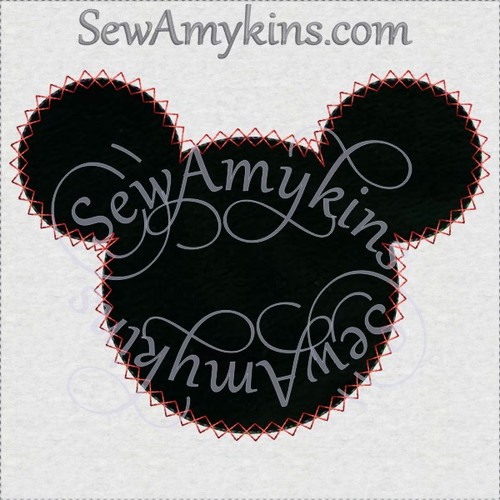 Mickey mouse head applique diamond zigzag edge machine embroidery