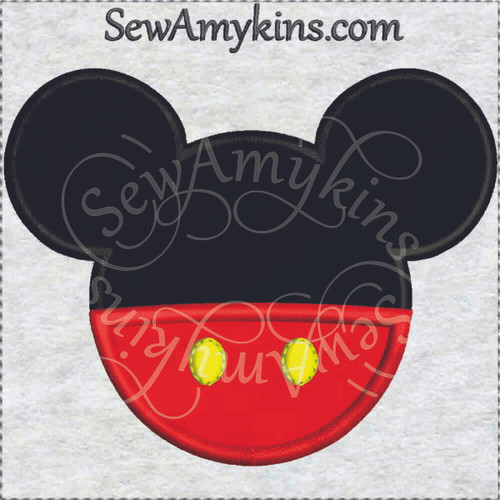 Mickey Mouse head pants applique machine embroidery
