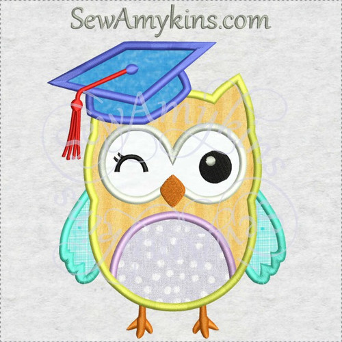 owl graduation applique machine embroidery design kindergarden school grad