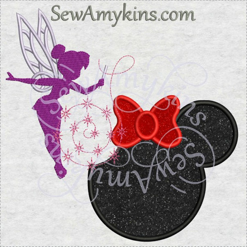 Tinkerbell shadow Minnie mouse head applique machine embroidery design Tink fairy