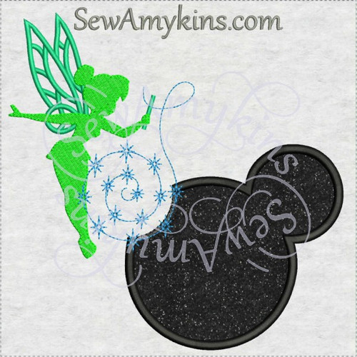 Tinkerbell shadow Mickey mouse head applique machine embroidery design Tink fairy