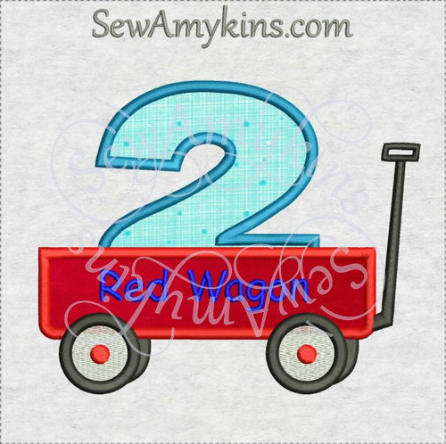 second birthday wagon 2 two little red applique embroidery design