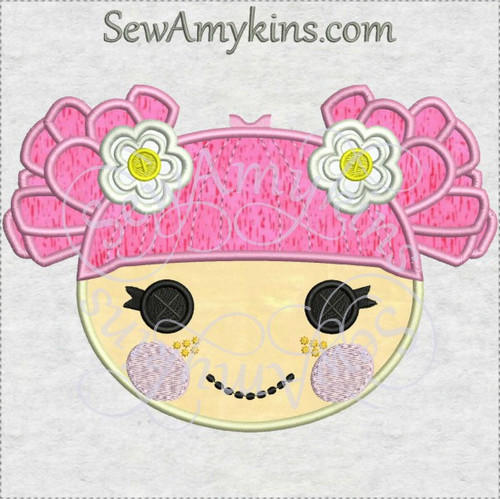 Lalaloopsy blossom flower pot doll applique machine embroidery design