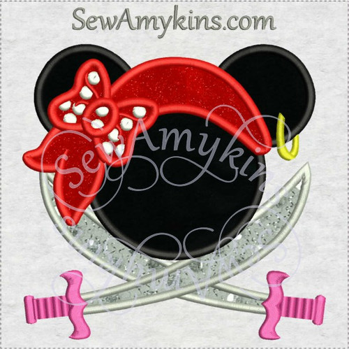 Minnie mouse pirate sword applique machine embroidery design