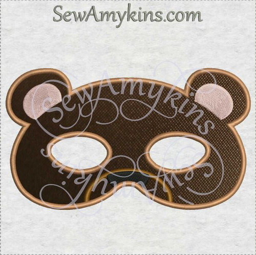teddy bear mask halloween applique machine embroidery