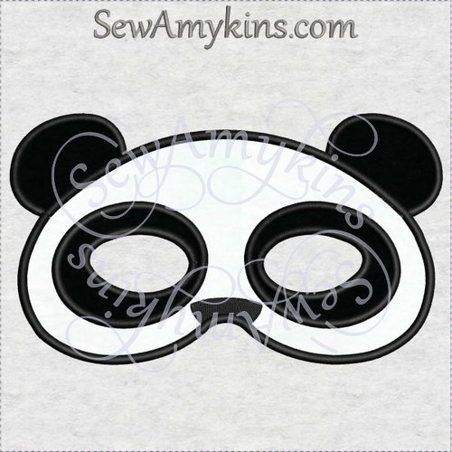 panda mask halloween bear applique machine embroidery