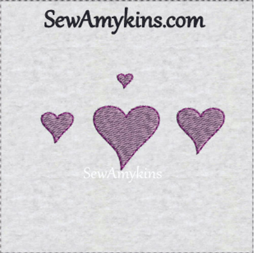 tiny modern embroidery heart hearts with outline stitch