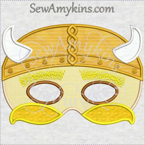 Viking mask halloween applique machine embroidery horn helnmet