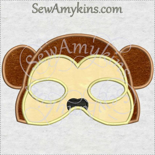 monkey mask halloween ITH machine embroidery applique design