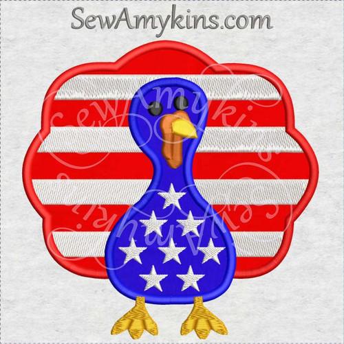 American turkey stars stripes applique embroidery design