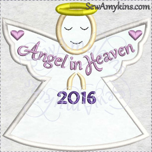Angel in heaven memory ornament Christmas 2016 applique machine embroidery