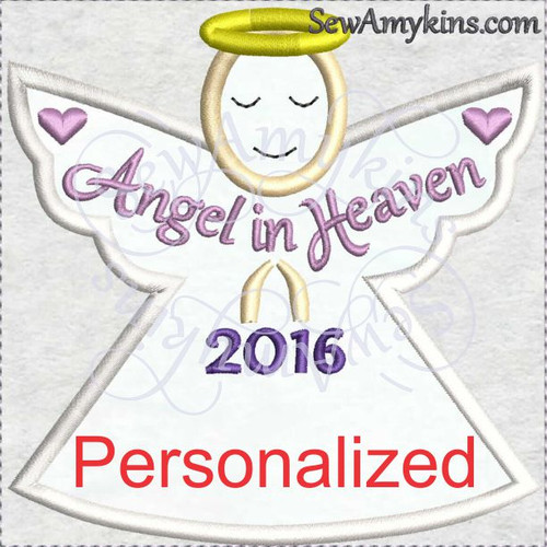 Personalized Memory Angel, add custom name, applique embroidery design