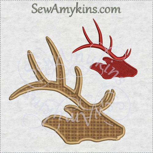 elk reindeer caribou silhouette aplique or fill stitch machine embroidery design