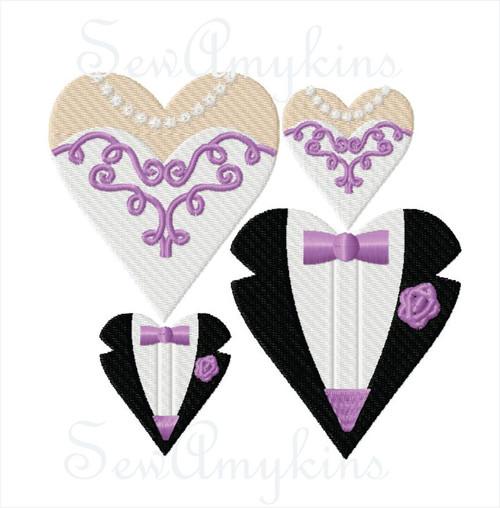 Bride & Groom Wedding Hearts fill stitch