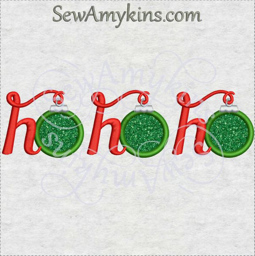 ho ho ho ornament Christmas words applique machine embroidery