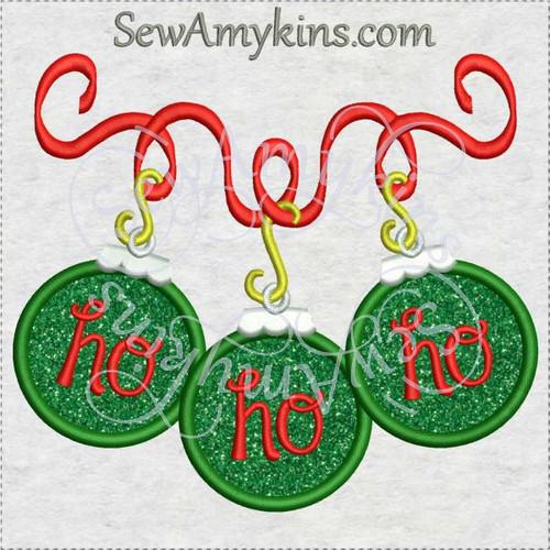 ho ho ho ornament ribbon Christmas applique machine embroidery design