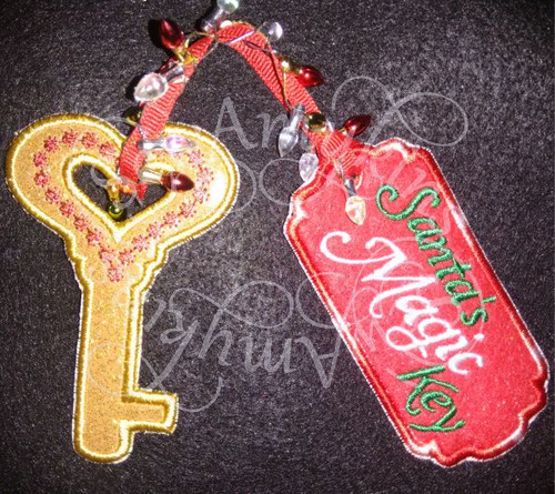 Santa's magic key and tag ith in the hoop applique machine embroidery design