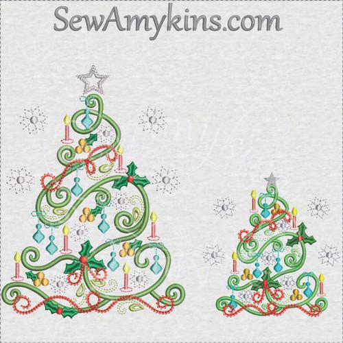 swirly Christmas tree mini elements both sizes
