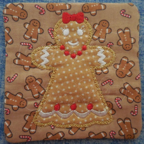 gingerbread girl applique ith in the hoop coaster mug rug machine embroidery design