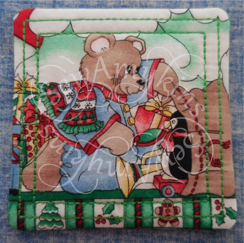 square ith in the hoop coaster mug rug machine embroidery design