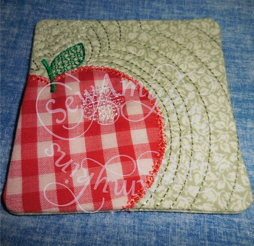 apple applique ith in the hoop coaster mug rug machine embroidery design