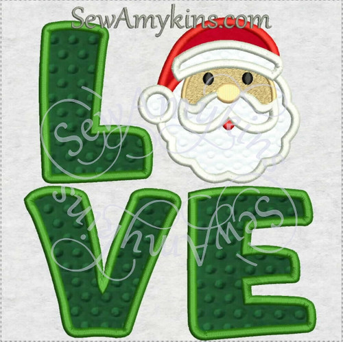 love santa face applique Christmas machine embroidery design
