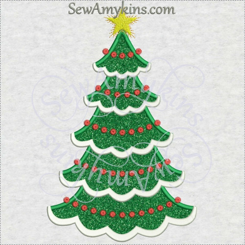 Christmas tree scallop edges snow branches applique machine embroidery jumbo large skinny