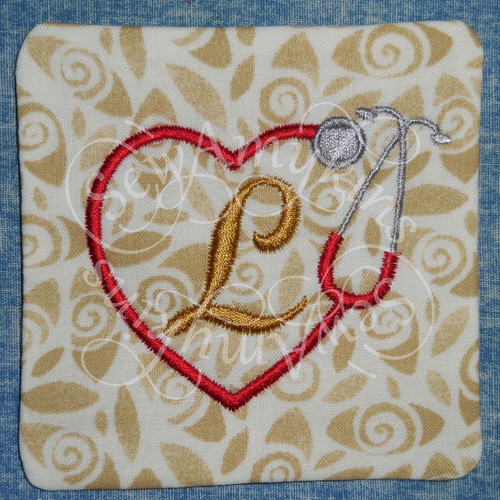 doctor nurse love heart stethoscope coaster mug rug in the hoop ith embroidery design