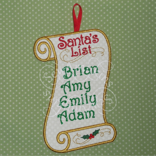 santa list Christmas applique in the hoop wall hanging ITH machine embroidery design naughty or nice