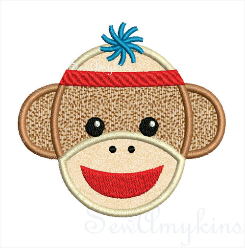 Boy Sock Monkey applique machine embroidery design in 3 sizes