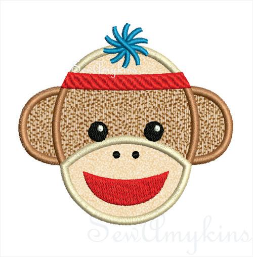 Boy Sock Monkey applique machine embroidery design in 3 sizes