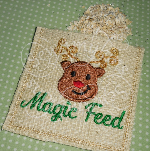 magic reindeer feed santa Christmas bag in the hoop applique embroidery design
