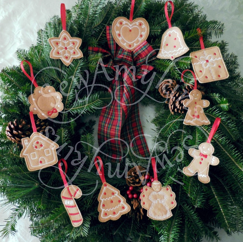 gingerbread ornaments applique machine embroidery Christmas felt designs