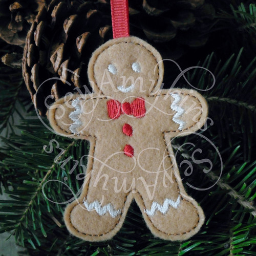 boy man cookie gingerbread ornament applique machine embroidery Christmas felt design