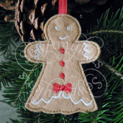 girl lady cookie gingerbread ornament applique machine embroidery Christmas felt design