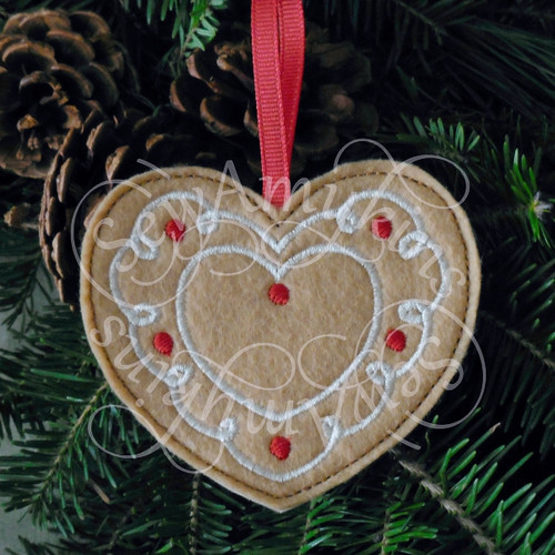 heart gingerbread ornament applique machine embroidery Christmas felt design
